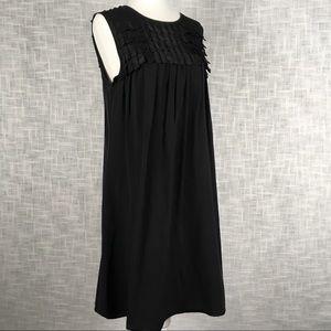 Black Burberry silk shift dress with fringe size 6
